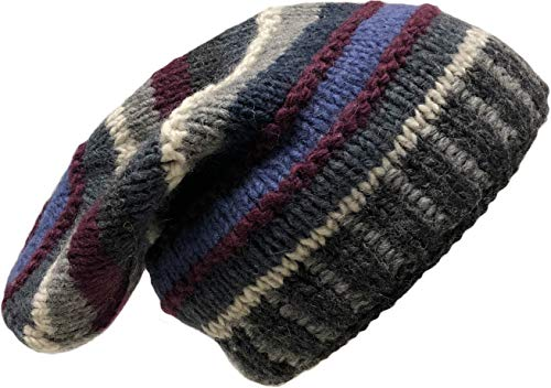 - Slouchy Long Beanie Hand Knit Hat Fleece Lined Fair Trade Made in Nepal (Grey/Blue)