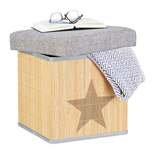 Relaxdays Folding Ottoman, Star Print, Square 36 cm, Bamboo Storage Footstool with Lid, Storage Cube, Grey/Natural by Relaxdays