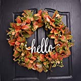 QUNWREATH Handmade 20 inch Orange Leaf Series Wreath,Flowers,Hello Letter,Fall Wreath,Wreath for Front Door,Rustic Wreath,Farmhouse Wreath,Grapevine Wreath,Light up Wreath,Everyday Wreath,QUNW47