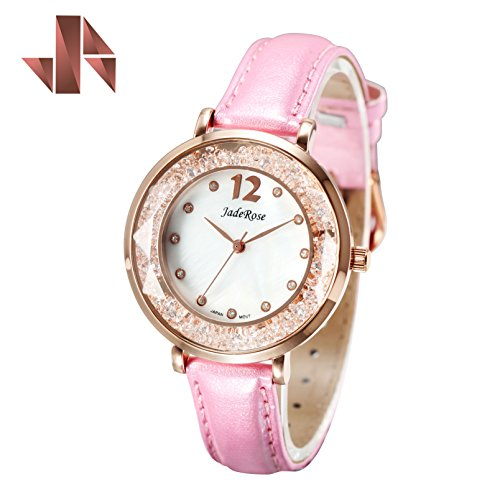 Women Fashion Waterproof Watch with MOP Face Rose Gold Case and Comfortable Leather Wrist Watch
