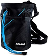 Sukoa Chalk Bag for Rock Climbing - Bouldering Chalk Bag Bucket with Quick-Clip Belt and 2 Large Zippered Pock