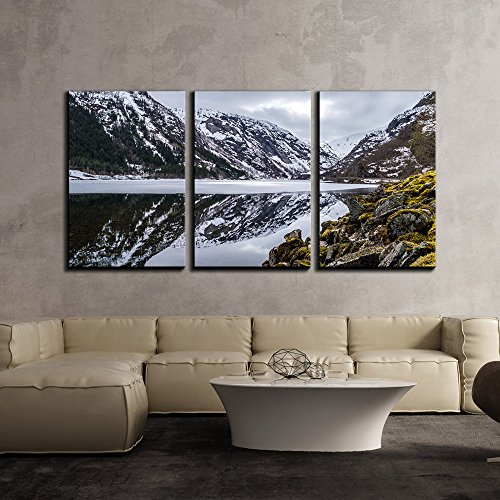 Frozen Lake Among Snow Covered Mountains x3 Panels