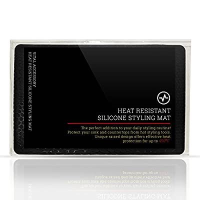 Heat Resistant Silicone Styling Mat for curling irons, flat irons, straightening brushes, and other heated hair styling tools