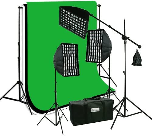 ePhoto Photography Video Studio Portrait SoftBox HoneyComb Grid Continuous Triple Lighting Kit 3pcs 6x9 ChromaKey Screen Black White and Green Muslin Support Stand Kit HGD269BWG