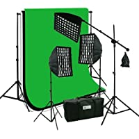 ePhoto 3 x Premium HoneyComb Softbox Photography Studio Video Lighting Kit Boom Stand Hair Light with 3 Chromakey Black, White, Green Muslin Supporting Background Stand System Case HGD2-69BWG