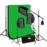 ePhoto Photography Video Studio Portrait SoftBox HoneyComb Grid Continuous Triple Lighting Kit 3pcs 6x9 ChromaKey Screen Black, White and Green Muslin Support Stand Kit HGD269BWG