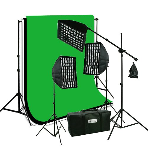 ePhoto Photography Video Studio Portrait SoftBox HoneyComb Grid Continuous Triple Lighting Kit 3pcs 6x9 ChromaKey Screen Black, White and Green Muslin Support Stand Kit HGD269BWG by ePhoto