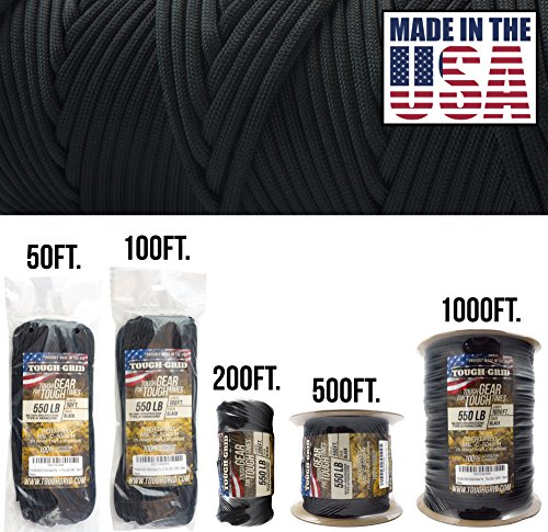 TOUGH-GRID 550lb Black Paracord/Parachute Cord - 100% Nylon Genuine Mil-Spec Type III Paracord Used by The US Military - Great for Bracelets and Lanyards - Made in The USA. 100Ft. - Black