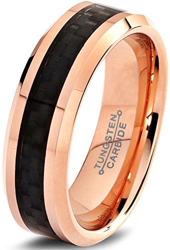 Charming Jewelers Tungsten Wedding Band Ring 6mm Men Women Comfort Fit Black Carbon Fiber 18K Rose Yellow Gold Plated Bevel Edge Polished