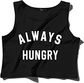 ZSIIBO Women's Sleeveless Always Hungry Letter Print Casual Crop Tank Top Cute Summer Graphic Gym Tee Shirts