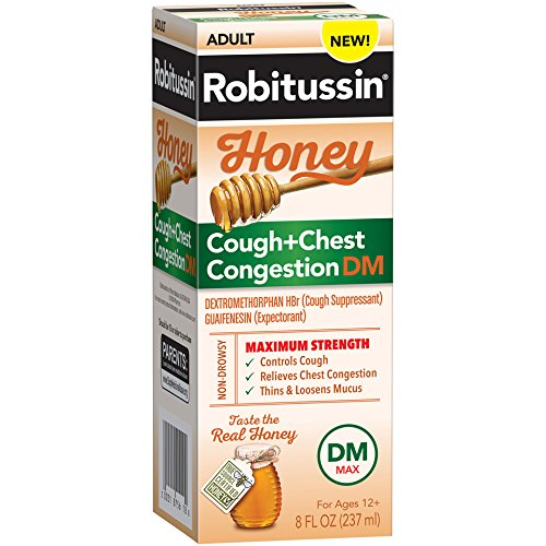 - Robitussin Honey Adult Maximum Strength Cough + Chest Congestion DM Max, Non-Drowsy Cough Suppressant & Expectorant, Real Honey, 8 fl. oz. Bottle