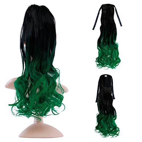 Vlasy 23'' Long Curly Wavy Tie Up Ponytail Hair Extensions Ombre Clip in Hairpieces (T-Green)