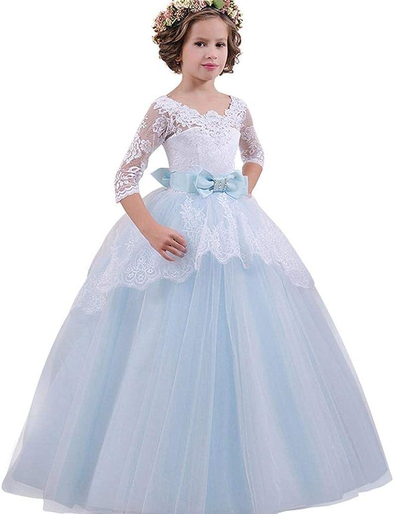 Baby Kid Girls Striped Dress Bowknot Formal Gown Wedding Bridesmaid Dress Skirt