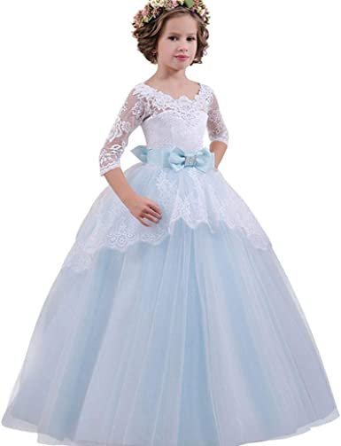 Princess Girls Embroidered Dress Formal Party Lace Dresses Summer Short Sleeve