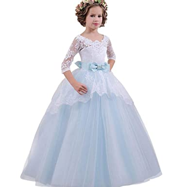 94c0e085 Moonker Girls Princess Dress 5-13 Years Old,Child Girls Kids Three Quarter  Lace