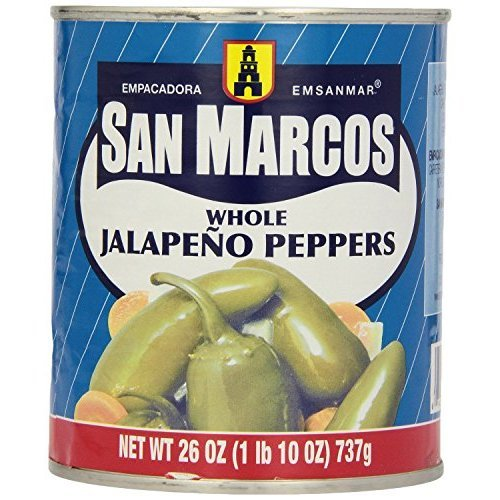 San Marcos Whole Jalapeno Peppers 26 Oz (Pack of 4)