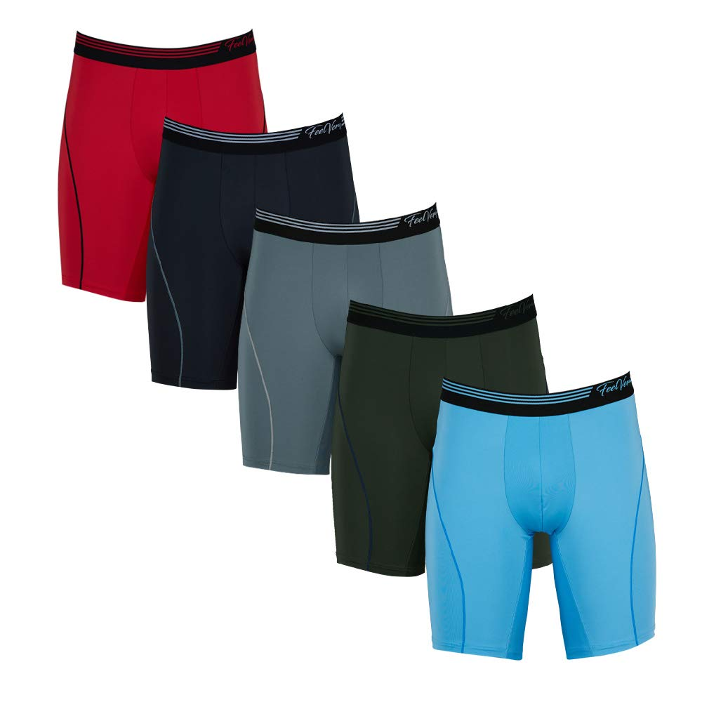 Feelvery Men's Superior Fit Microfiber Active Performance Boxer Briefs Underwear (5 Pack) - Unlimited Comfort Series (A Line_Long, 2X-Large)