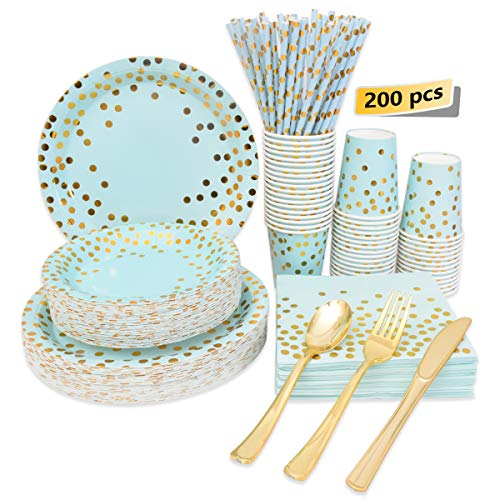 Blue and Gold Party Supplies Disposable Blue Paper Plates Dinnerware Set Gold Dots Dinner Plates Dessert Plates Cups and…