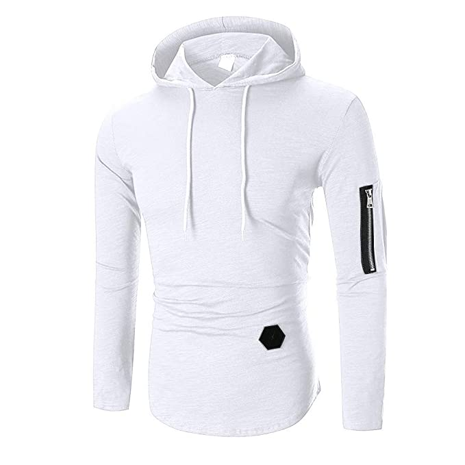 d93fd136d ZEFOTIM Men's Autumn Winter Casual Tops Long-Sleeved Zipper T-Shirt Solid  Hooded Blouse