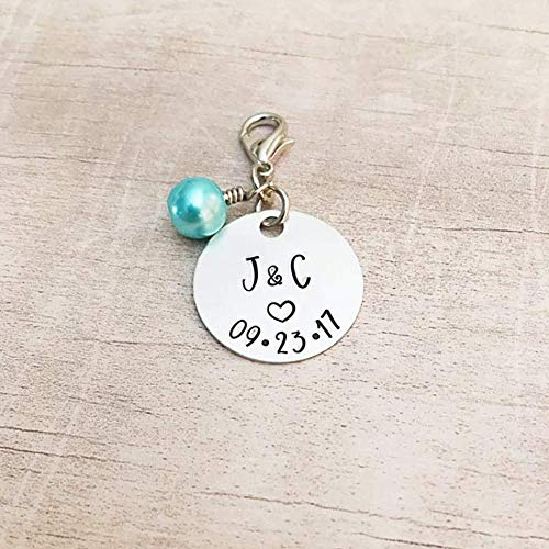 (Personalized Bridal Bouquet Charm Something Blue for Bride)