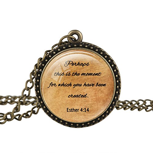 FM42 Vintage Style ESTHER 4:14 Christian The Bible Religious Inspirational Quote Pendant Necklace TN2436