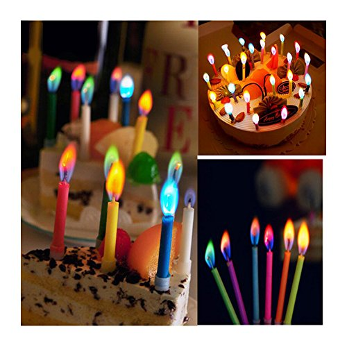 (Comidox 12pcs Fashion Colored Candles Safe Flames Party Birthday Cake Décor (holders)