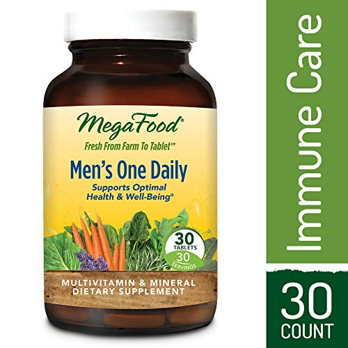 Folic Tablets 30 Acid (MegaFood - Men's One Daily, Multivitamin Support for Healthy Energy Levels, Prostate Function, Mood, and Bones with Zinc and B Vitamins, Vegetarian, Gluten-Free, Non-GMO, 30 Tablets (FFP))