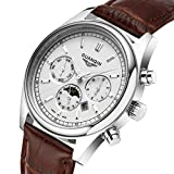 Moon Phase Men's Watches Luminous Quartz Casual Calendar Business GUANQIN Waterproof Leather Strap