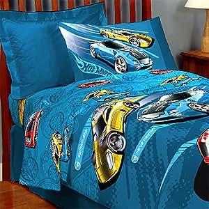 Hotwheels Race Bed Sheet Set - 3pc Racing Cars Sheets Twin-Single Size