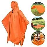 Waterproof Raincoat Rain Poncho Lightweight RipStop Hooded Rain coat as Picnic Mat, Rain Fly, backpack cover