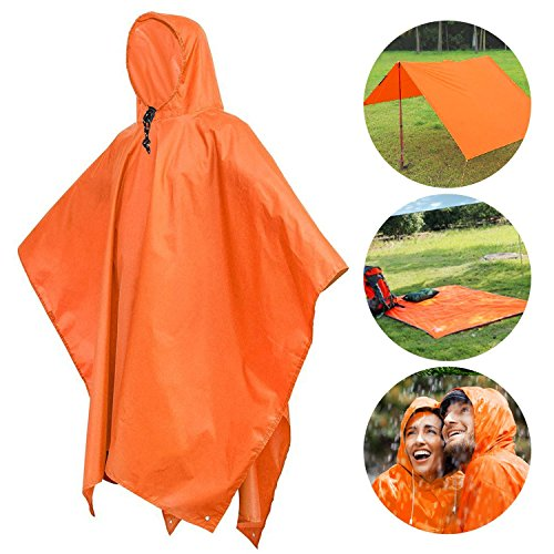 Waterproof Raincoat Rain Poncho Lightweight RipStop Hooded Rain coat as Picnic Mat, Rain Fly, backpack cover