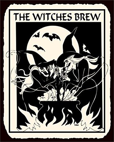 Witches Brew Halloween Vintage Metal Art Retro Tin Sign