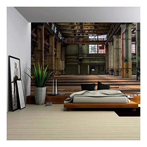 (wall26 - Dark Industrial Interior of an Old Building - Removable Wall Mural | Self-Adhesive Large Wallpaper - 100x144 inches)