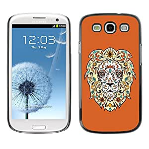 ZAAAZ PC Polycarbonate Aluminium Back Case Cover Samsung Galaxy S3 III i9300 / Cool Awesome Floral Lion /
