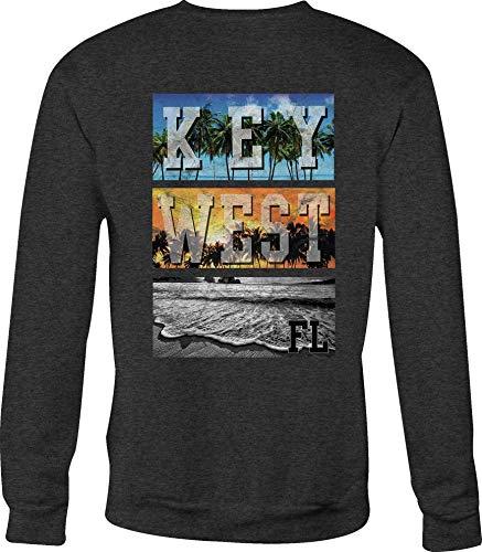 (Hoody Crewneck Sweatshirt Key West Beach Florida for Women - Med Gray)
