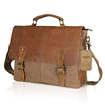 "Lifewit Genuine Leather Vintage 15.6"" Laptop Canvas Messenger Satchel Bag Coffee"