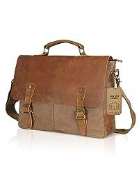 "Lifewit Genuine Leather Vintage 15.6"" Laptop Canvas Messenger Satchel Bag Coffee"