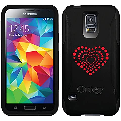 Dotted Heart design on Black OtterBox Commuter Series Case for Samsung Galaxy S5 (Otterbox Samsung Galaxy S5 Skin)