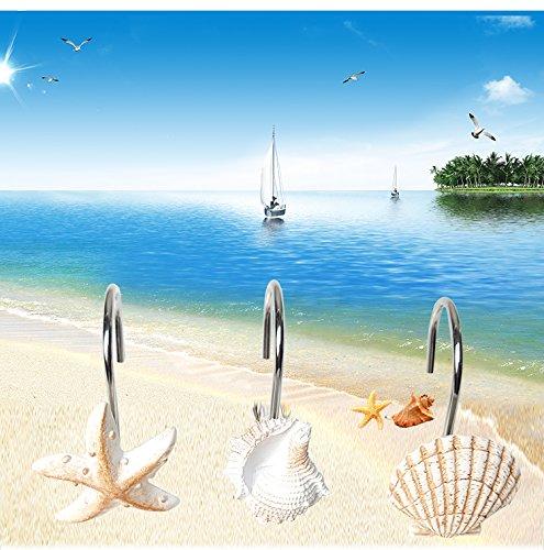 Aystuff Creative Shower Curtain Hooks, 12PCS Decorative Seashell Seastars Hooks for Bathroom, Baby room, Bedroom, Living Room Decor (Seashell Seastars-Resin)