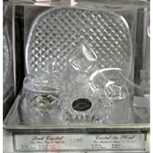 Lead Crystal 4 Piece Crystal Gift Set w Tray, Perfume Bottle w Top, Trinket or Candle Holder w Lid, & Ring Holder