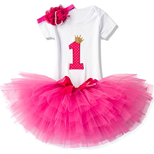 NNJXD Girl Newborn Crown Tutu 1st Birthday 3 Pcs Outfits Romper+Dress+ Headband Size (1) 1 Year Rose -