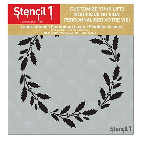 Holly Wreath Stencil 5.75