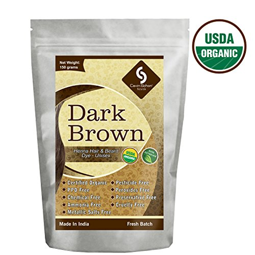 Cavin Schon USDA Certified Organic Dark Brown Henna - 100% Natural/Organic & Chemical Free Hair color/dye