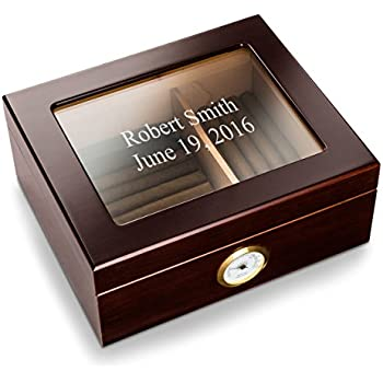 20 count  WOOD DESKTOP CIGAR HUMIDOR ENGRAVED  US NAVY LOGO  CHERRY FINISH  NEW