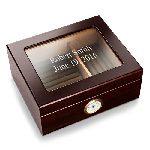 Engraved Cigar Humidor - Personalized Capri Glass Top Mahogany Humidor - Monogrammed Cigar Humidor - Humidor