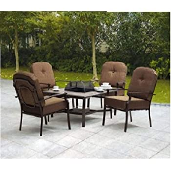 5 piece patio conversation set with fire pit set includes 1 table and 4 - Patio Table With Fire Pit