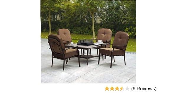amazon com 5 piece patio conversation set with fire pit set rh amazon com