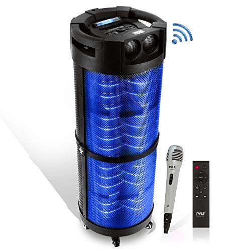 Portable Boombox PA System Speaker - 800W Rechargeable Batteries, Wireless Bluetooth, LED Lights On Off Switch FM Radio USB/ MP3 Player, Aux, 1/4' in - Microphone Included - Pyle PBMSPG298