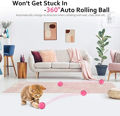 Interactive Cat Toys for Indoor Cat,Upgraded Version Self Rotating Electronic USB Rechargeable Wicked Cat Toy Ball with Build-in Red LED Light,Stimulate Hunting Instinct for Your Cat/Kitten (Red) 4