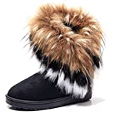 DADAWEN Women's Winter Warm High Long Snow Ankle Boots Faux Fox Rabbit Fur Tassel Shoes